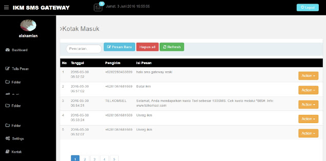 source code Web SMS Gateway php