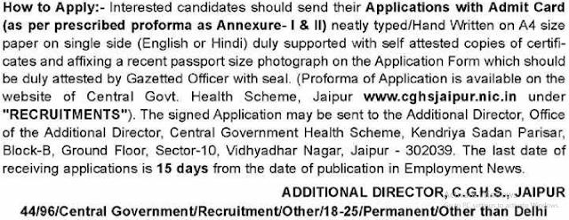 CGHS Jaipur Recruitment 2017