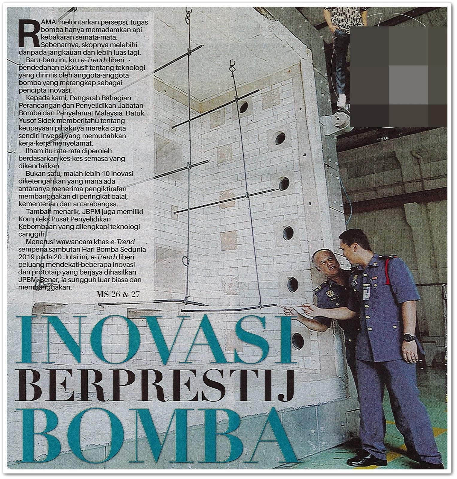 Inovasi berprestij bomba - Keratan akhbar Sinar Harian 18 Julai 2019