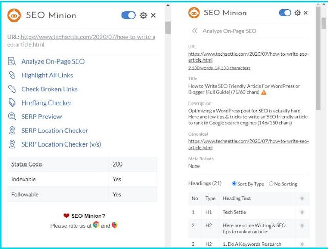 Best Google Chrome Extension: SEO Minion