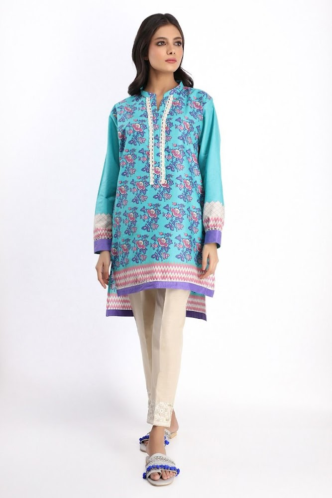 Khaadi Printed kurta blue color