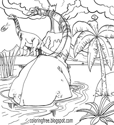Kids science fiction dinosaur film Prehistoric illustration Jurassic earth coloring pages to print