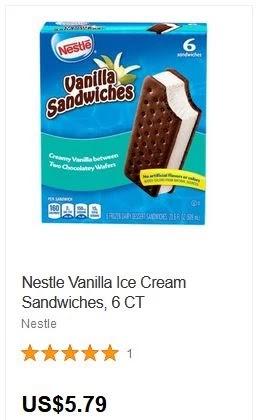 Nestle Vanilla Ice Cream Sandwiches