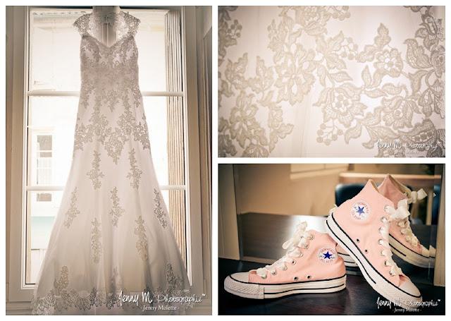 photo robe de mariée et converses roses