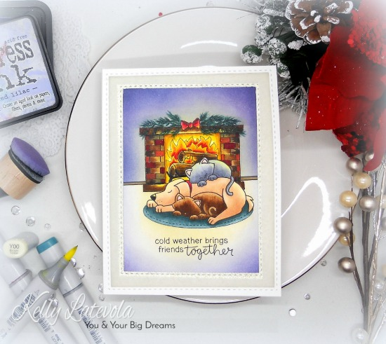 Cat and Dog by Fireplace Card by November Guest Designer Kelly Latevola | Fireside Friends Stamp Set by Newton's Nook Designs #newtonsnook #handmade