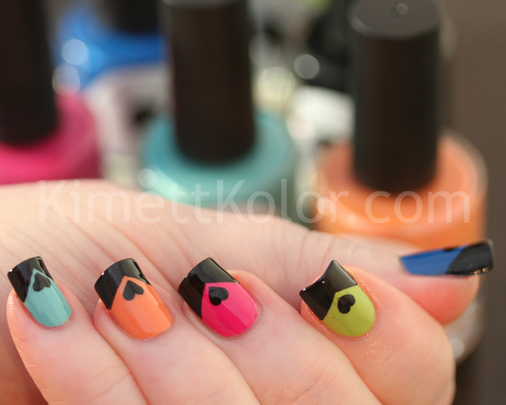 KimettKolor Heart-Tips Skittle Nail Art
