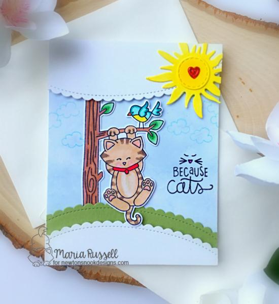 Cat on Tree Card by Maria Russell | Newton Hangs Out and Cat-itude Stamp Sets by Newton's Nook Designs #newtonsnook #handmade