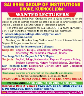 Kurnool, Sai Sree Group Of Institutions Lecturer Faculty Jobs 2020