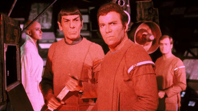 Ilia, Spock, Kirk and Decker with V'ger