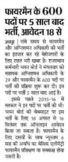 Rajasthan Fireman Bharti 2021 Notification Application form