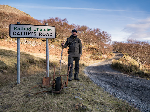 Bob Marshall at the start of Calum's Road at Brochel, Raasay