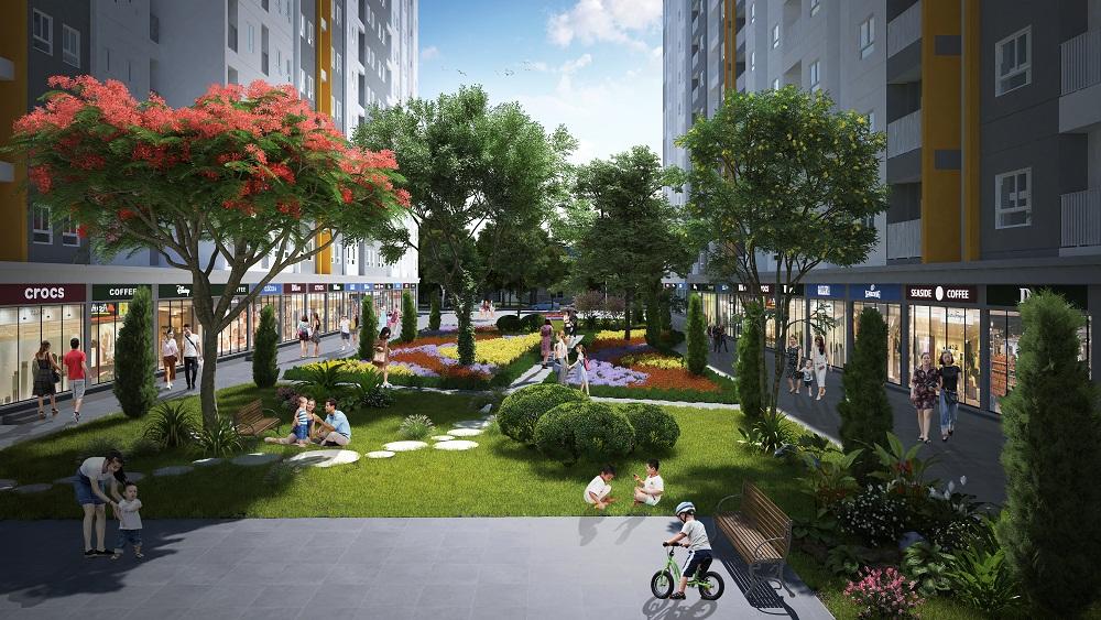 Không gian công viên cây xanh trong khu cao tầng Him Lam Green Park