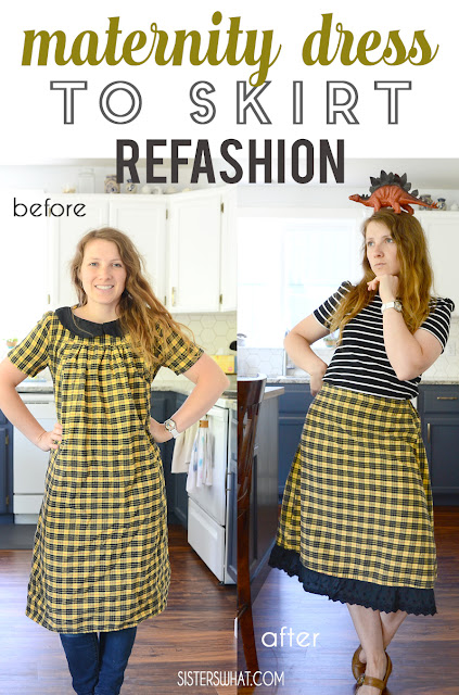 gathered skirt refashion from maternity dress