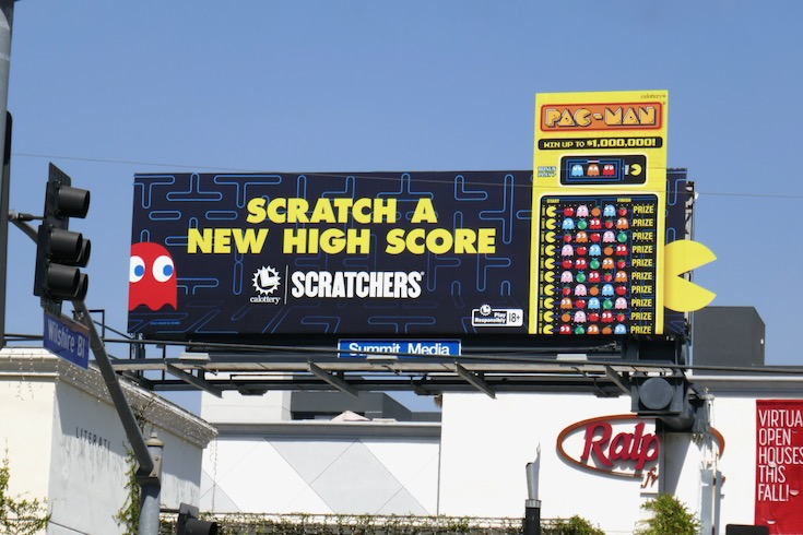 high score Ca Lottery PacMan Scratchers cutout billboard