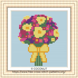 BOUQUET #1, FREE AND EASY PRINTABLE CROSS STITCH PATTERN