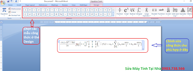 Chèn công thức toán học trong word - H02