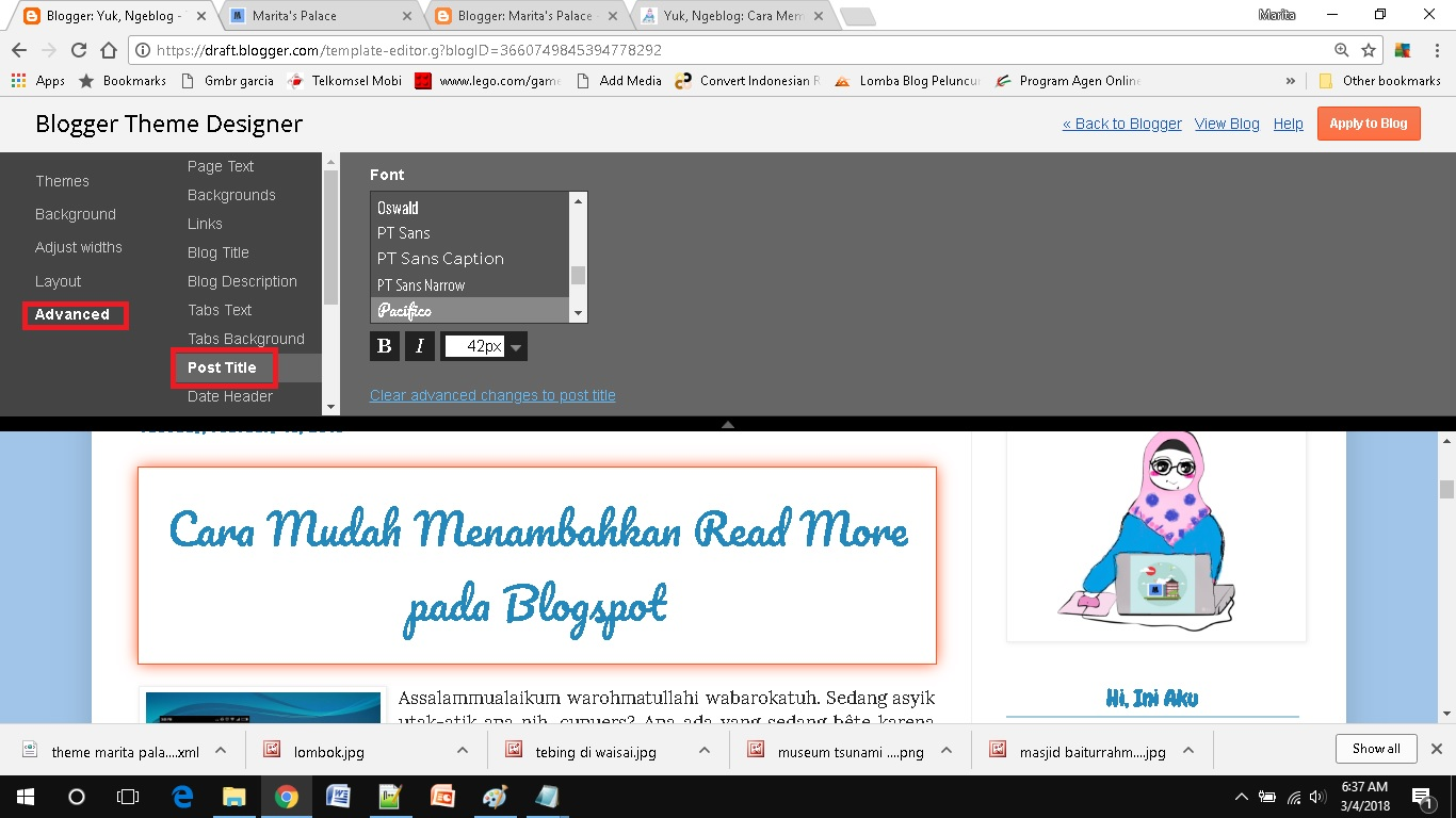 mendesain template blog sederhana pilih warna font post title