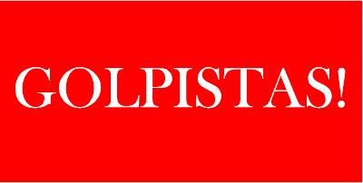 A imagem de fundo vermelho e letras em branco diz: golpistas!