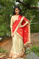 Akshara in Red Saree Golden Choli at LV Movie Makers Production No 1 Movie Opening ~  Exclusive 124.JPG