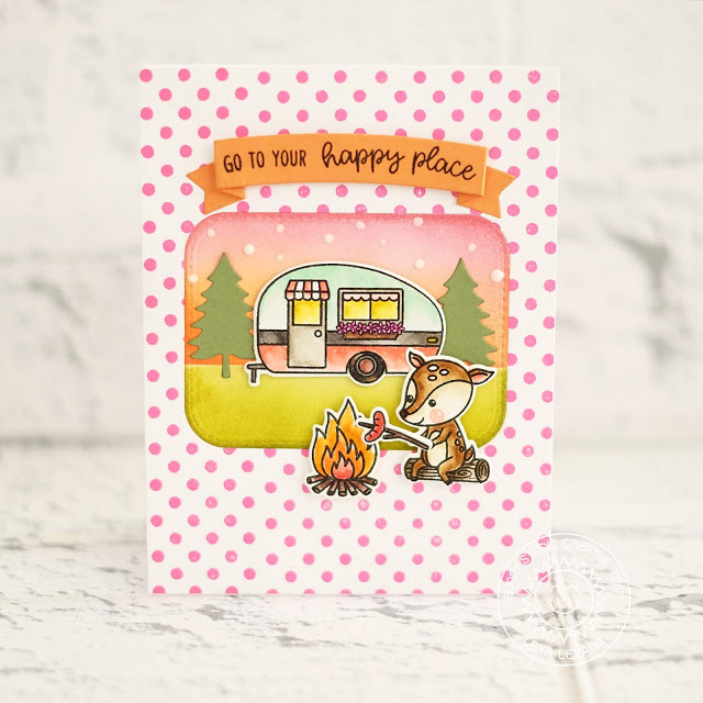 Sunny Studio Stamps: Happy Camper Critter Campout Background Basics Camping Themed Happy Place Card by Lexa Levana