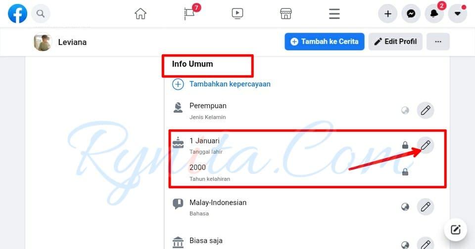 Cara mengganti tanggal lahir di FB melalui PC