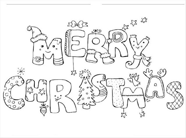 christmas coloring pages that say merry christmas