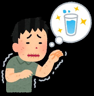 のどが渇いた人のイラスト(男性)