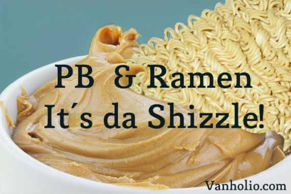 block of dry ramen dipped in peanut butter
