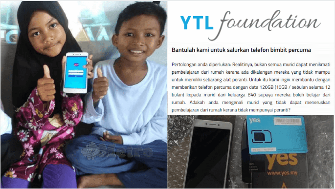 Semakan & Permohonan Telefon Pintar Percuma Untuk Keluarga B40 ~ YTL Foundation