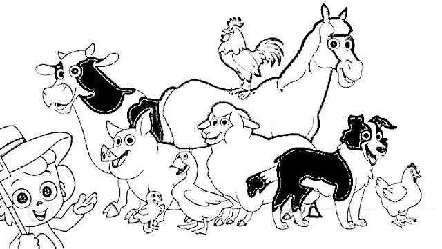 belajar menggambar dan mewarnai binatang hitam sapi babi ayam bebek anjing kuda kambing