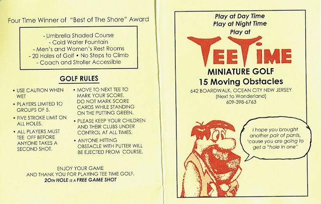 Minigolf scorecard from Tee Time Miniature Golf on the Boardwalk at Ocean City, New Jersey, USA. Photo by Pat Sheridan, 2021