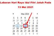 Lebaran Idul Fitri 2021 Jatuh Pada Kamis, 13 Mei 2021