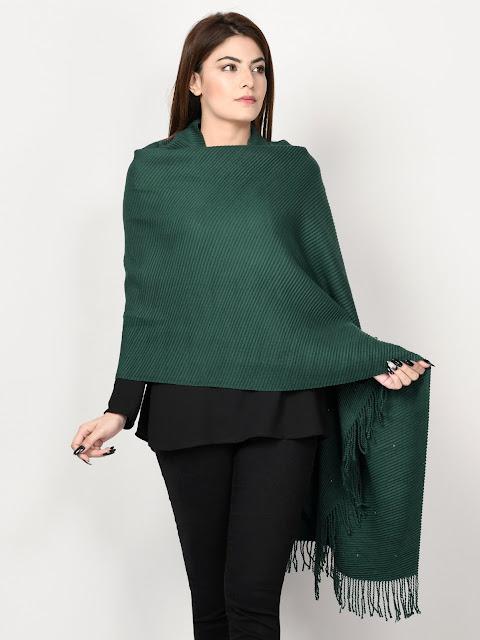 Limelight winter wear women green shawl