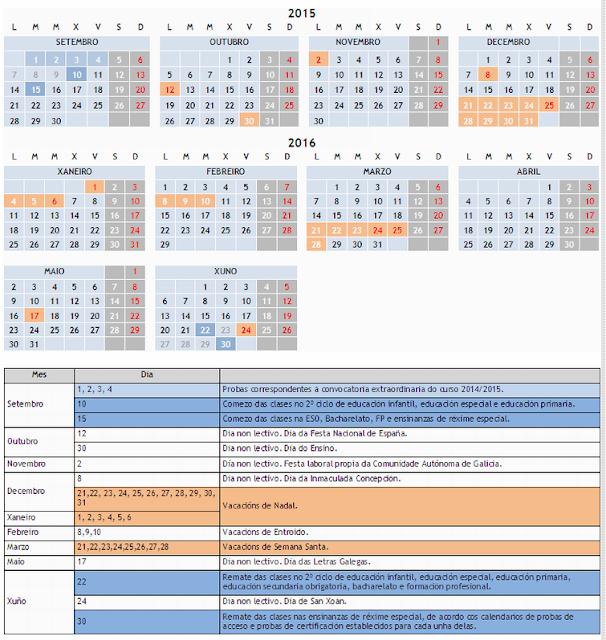 Calendario Escolar Xunta.Monica Diz Orienta Calendario Escolar En Galicia Para O Curso 2015 2016