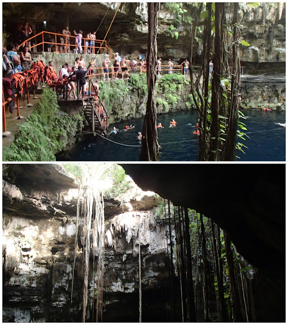 Tourists play around in a cenote...