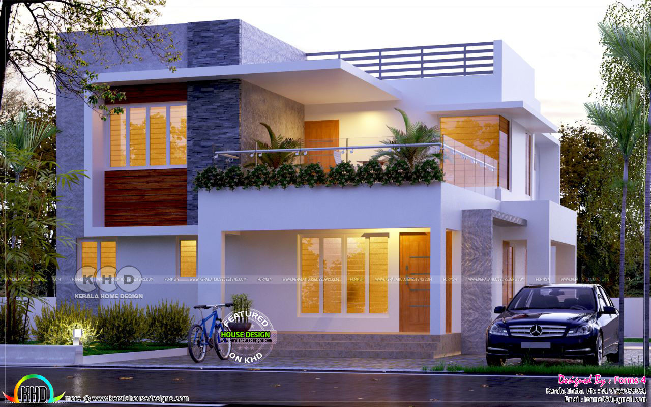 4 Bedroom Modern Flat Roof House Plan Kerala Home Design And Floor Plans 8000 Houses