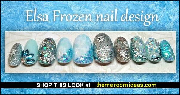 Elsa frozen ice queen rhinestone snow flakes frozen winter themed nails