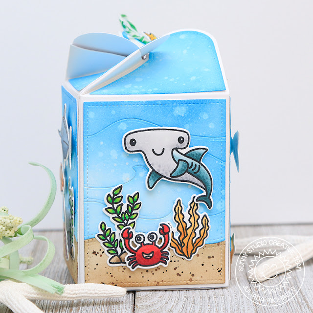 Sunny Studio Stamps: Fourth of July and Best Fishes Ocean Themed Gift Boxes (using Wrap Around Box Die) by Juliana Michaels and Mendi Yoshikawa