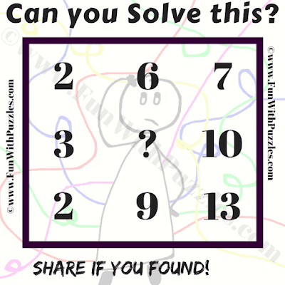 Can you solve this? 2 6 7, 3 ? 10, 2 9 13