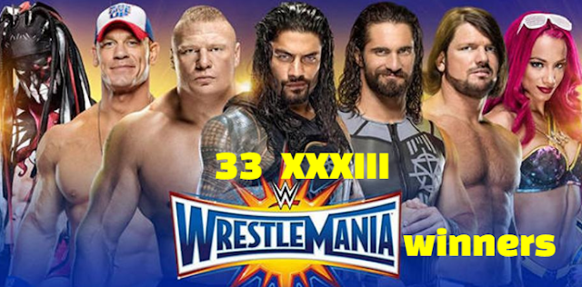 WWE Wrestle-Mania 33 XXXIII, Results, Winners, Losers,  2017.