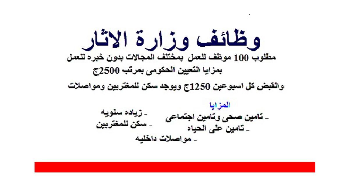 إعلان وظائف وزارة الاثار المتحف المصري 2021