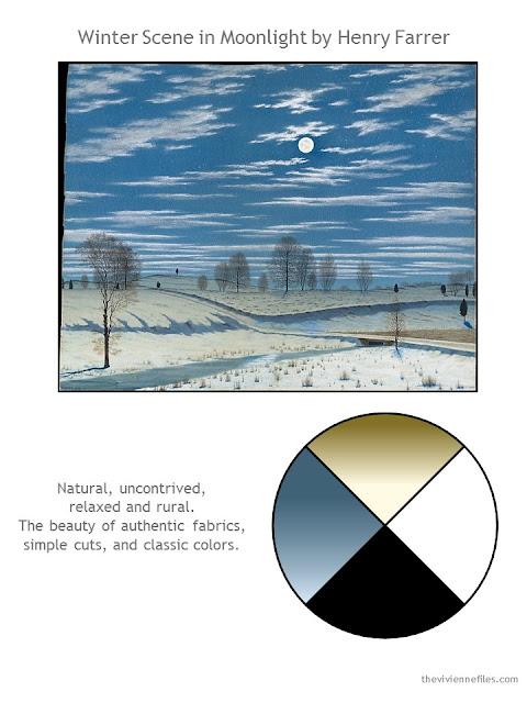 Winter Scene in Moonlight by Henry Farrer, with style guidelines and color palette