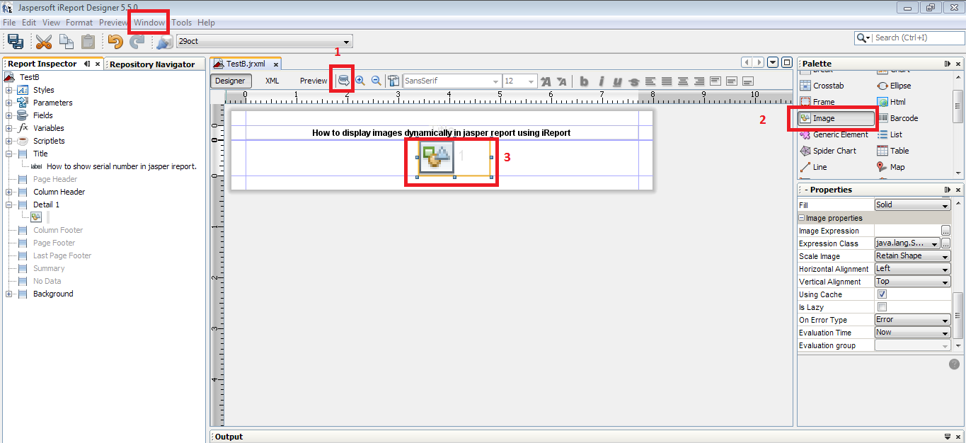 Learn programming how to display images dynamically in jasper 3 now select image that you have drag and drop in step no 2 and click on image expression from properties window baditri Images