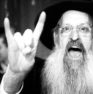 rabbi yelling and making devil horns with fingers