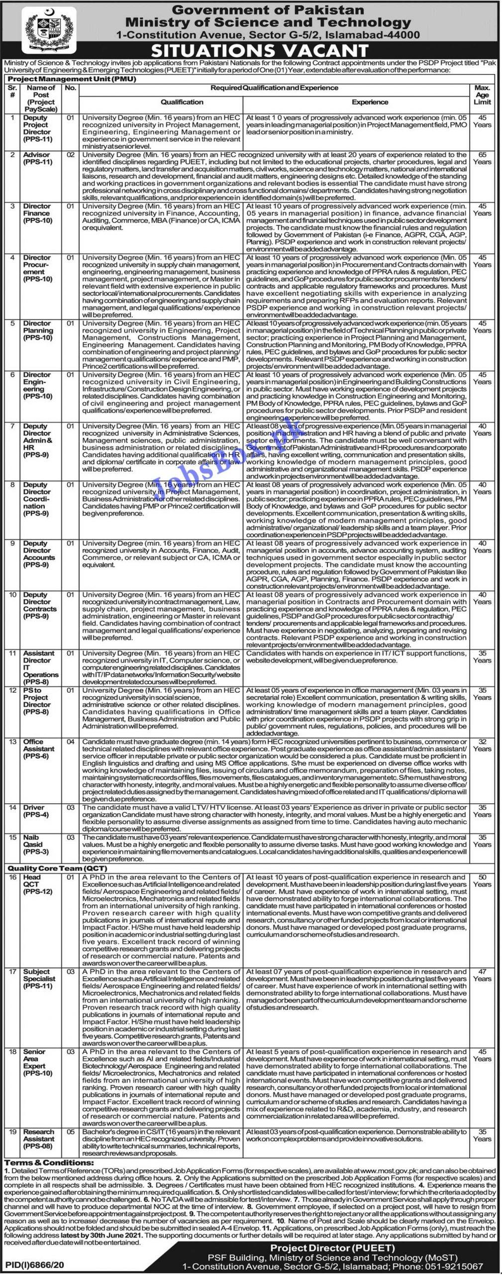 www.most.gov.pk - Ministry of Science & Technology MOST Jobs 2021 Latest Advertisement