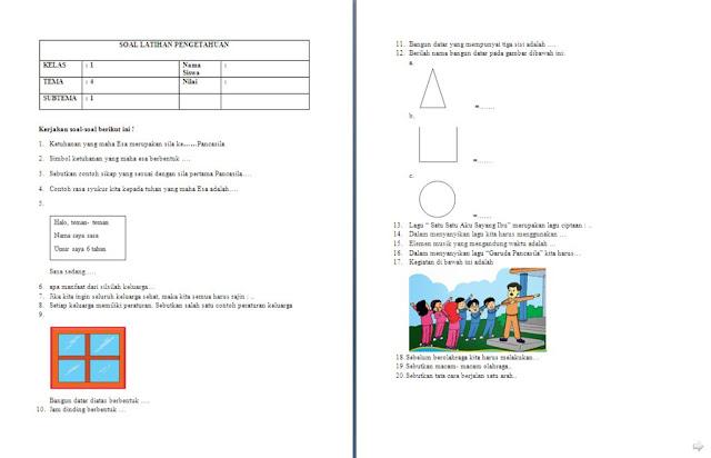 Soal Penilaian Harian (PH) Kelas 1 SD/MI: Tema 4