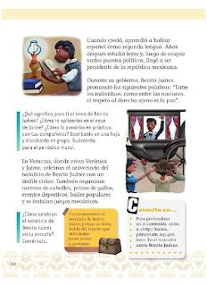 Apoyo Primaria Exploración de la Naturaleza y la Sociedad 1er Grado Bloque 4 Lección 7 Cómo celebramos: El natalicio de Benito Juárez