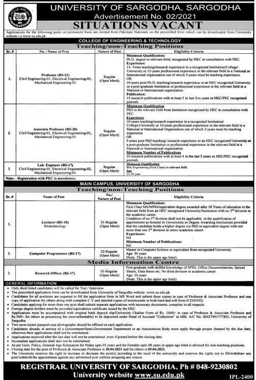 www.su.edu.pk - Download Job Application Form - University Of Sargodha SU Jobs 2021 in Pakistan - Latest Jobs For Teaching or Non Teaching Staff in Pakistan 2021