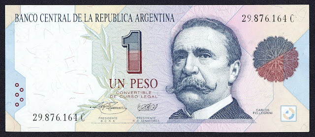 Argentina Banknotes 1 Peso Convertible banknote 1992 Carlos Pellegrini, 11th President of Argentina