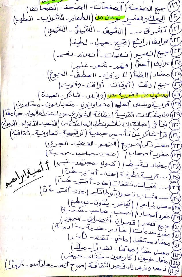 336 سؤال اختيار من متعدد للصف الرابع الابتدائي يشمل كل أجزاء المنهج قراءة ونصوص ونحو ومواطن جمالية 6